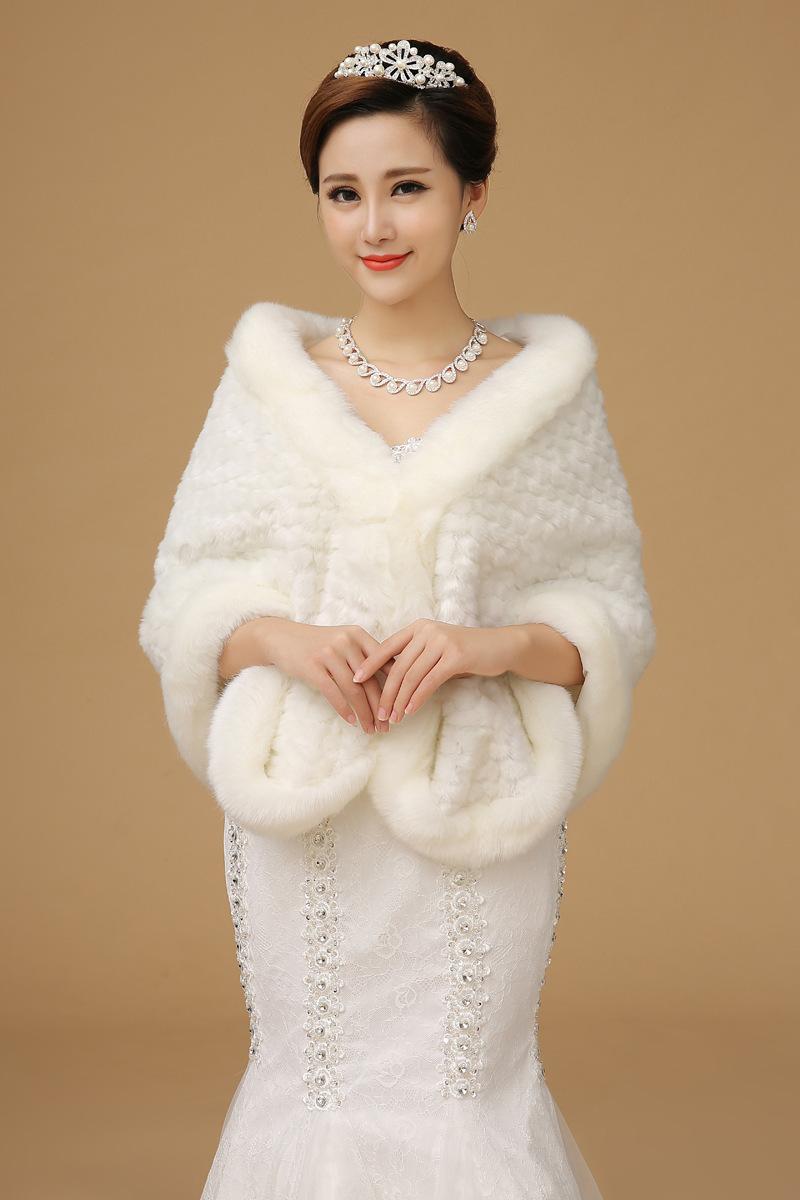 2015 newest bridal faux fur wraps cape wedding dress for Fur shrug for wedding dress