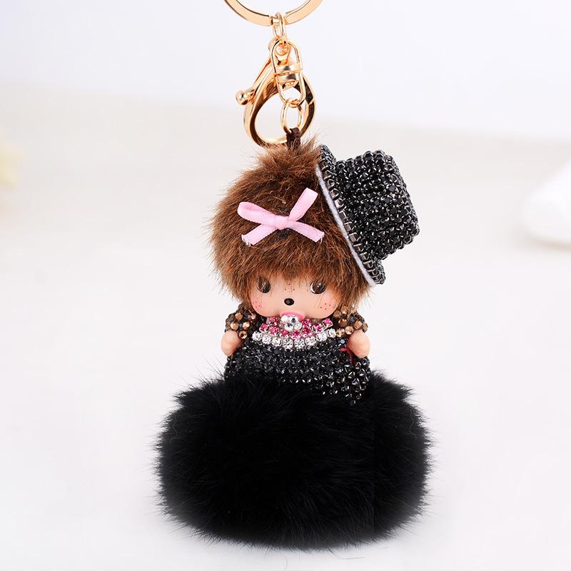 Women Fur Ball Monchichi Keychain Bow Fashion Monchhichi Sleutelhanger Key Chain Valentine's Day Gift Handbag Accessories QWE(China (Mainland))