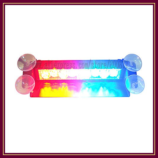 LED dash light for car LED visor light LED warning light, 8pcs Gen3 1W LED, 6 flash patterns, Powered by cigarette lighter