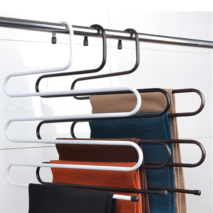 [Free shipping] Magic Multi-layer Metal Hanger for Pants,S Shape (4 pieces/Lot)(China (Mainland))