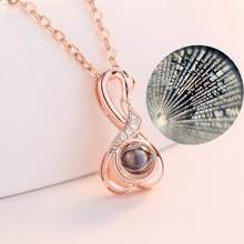 Kobiet 100 języków kocham cię projekcja wisiorek kryształ dekoracji naszyjnik biżuteria prezent romantyczna miłość pamięci biżuteria ślubna(China)