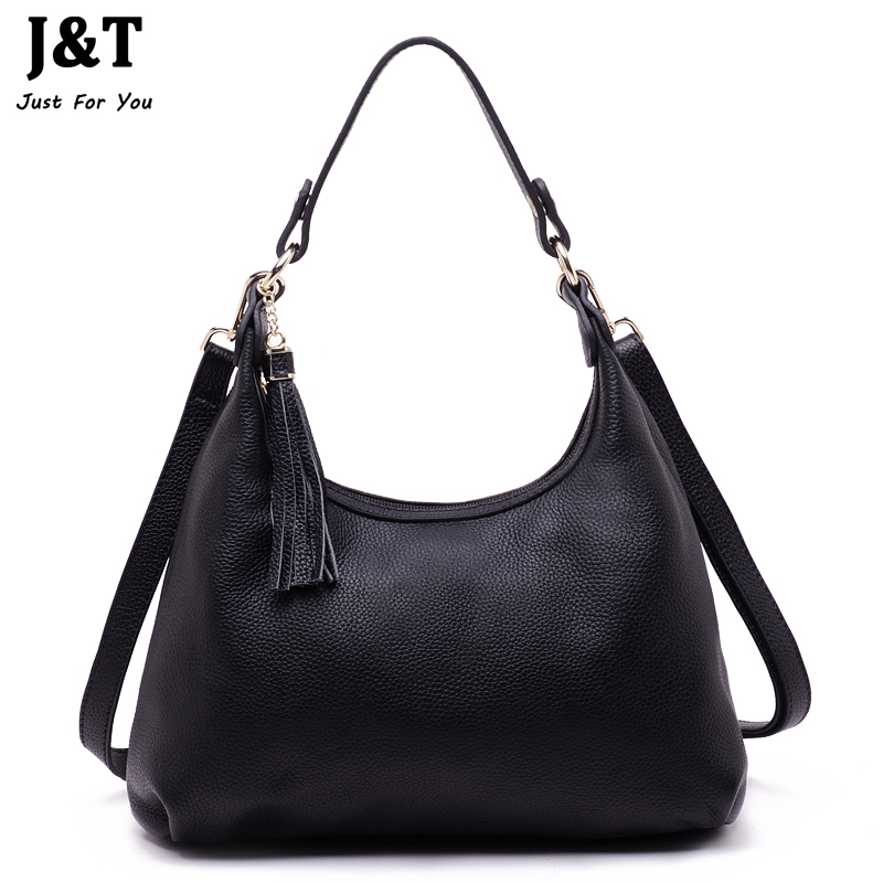 New Arrival First Layer of Cowhide Genuine Leather Womens Bag Hobos Famous Designer Brand Bags Tote Shoulder Tassel Crossbody<br><br>Aliexpress