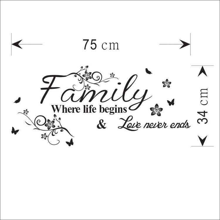 family slogan decorative wall sticker fashion home decor