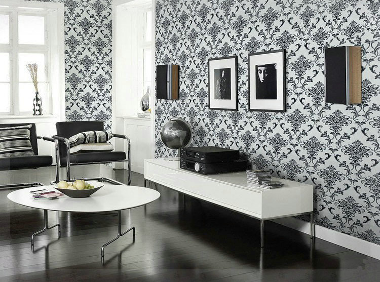 Wallpaper background wall bedroom wallpaper for living for Damask wallpaper living room ideas