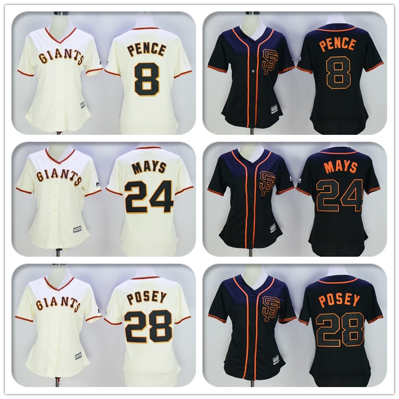 Womens #8 Hunter Pence #24 Willie Mays #28 Buster Posey Jersey Color Black Beige Throwback Jerseys(China (Mainland))