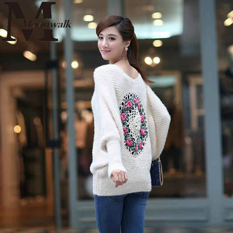 Women's sweaters 2015 Winter Autumn Fashion Knitted Mohair Sweater Rose Crochet Black White Pullovers For Women S980(China (Mainland))
