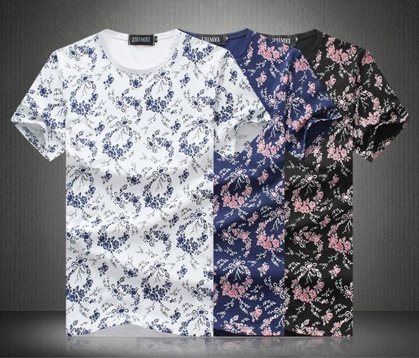 2015 Summer new fashion Male short sleeve t shirt Personality Plant flowers patterns Youth popular slim Cotton t shirt men M-5XLОдежда и ак�е��уары<br><br><br>Aliexpress