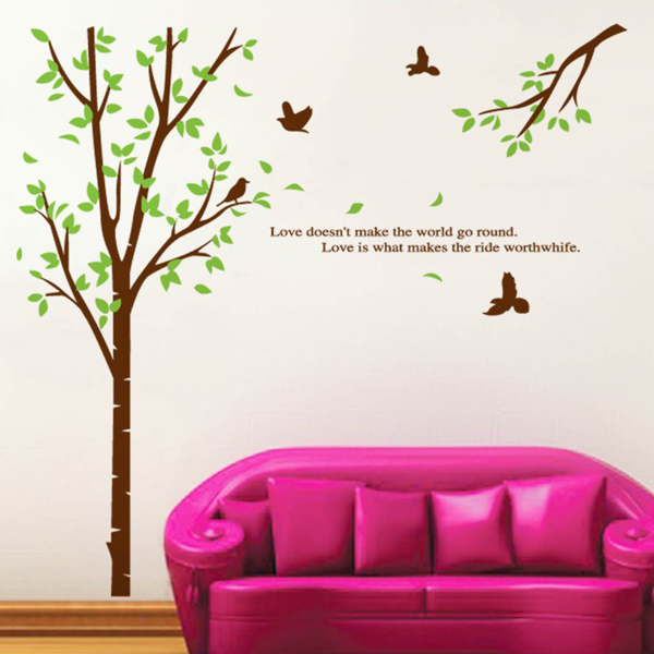 Animals Birds big tree vinyl wall stickers home decor living room bedroom sofa wallpaper mural home accessories wall decals(China (Mainland))