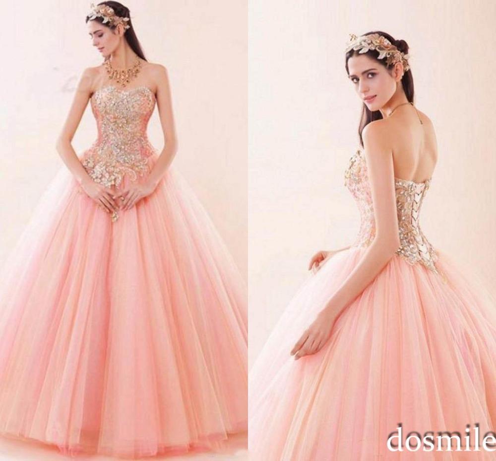 2016 Sexy Princess Luxury Appliques Pink Tulle Sweet 16