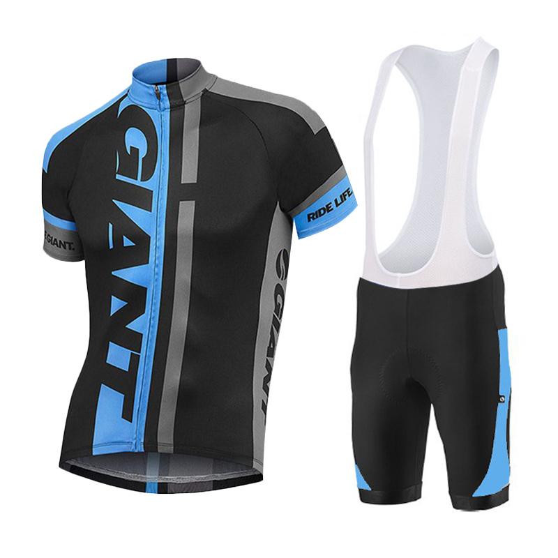 2015 Giant blue black Cycling Jersey Ropa ciclismo Short sleeves Bib Shorts maillot ciclismo Bicicleta Cycling Clothing(China (Mainland))