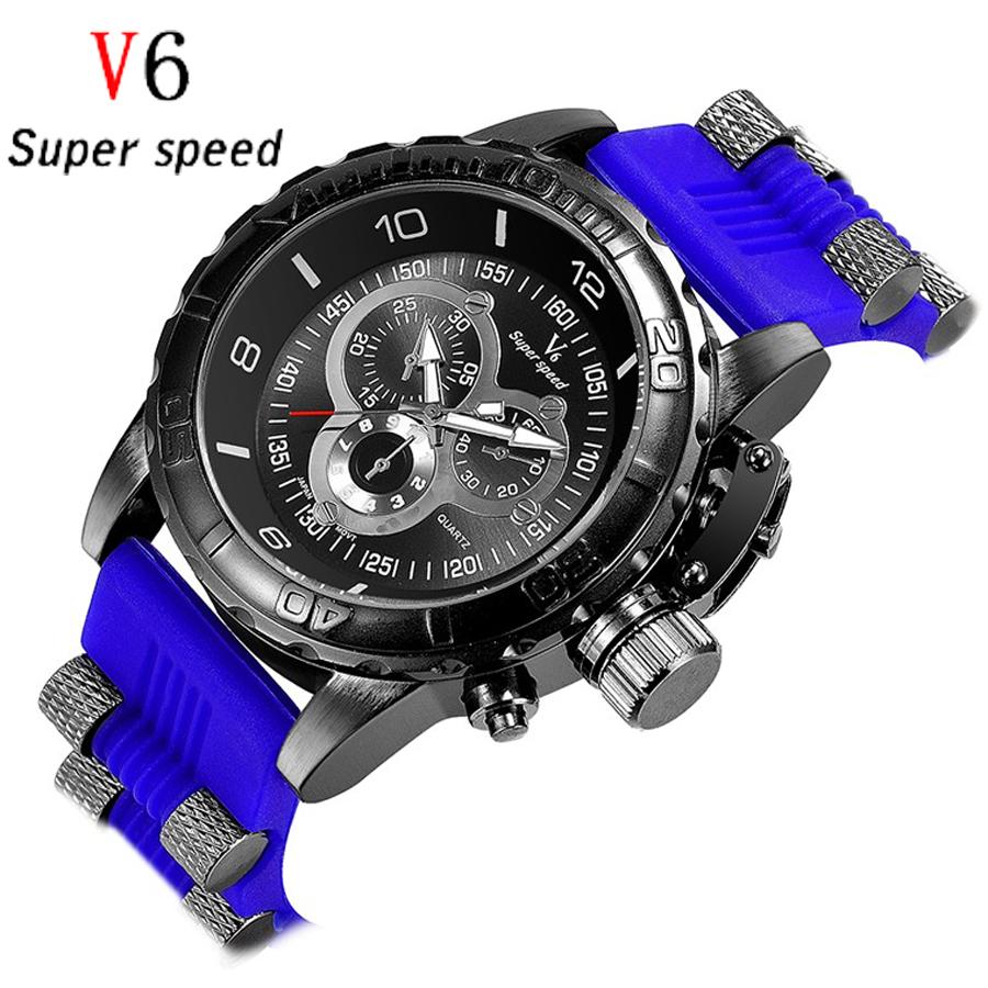 V6 Fashion Men Top Brand Luxury Famous Casual Wrist Watch Male Clock Rubber Strap sports military Quartz-watch Relogio Masculino  -  Boutique Store store