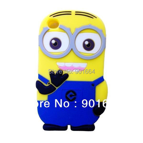 Free Shipping 1pcs/lot NEW 3D DESPICABLE ME MINIONS soft silicone case cover for ipod touch 4 4g 4th generation(China (Mainland))