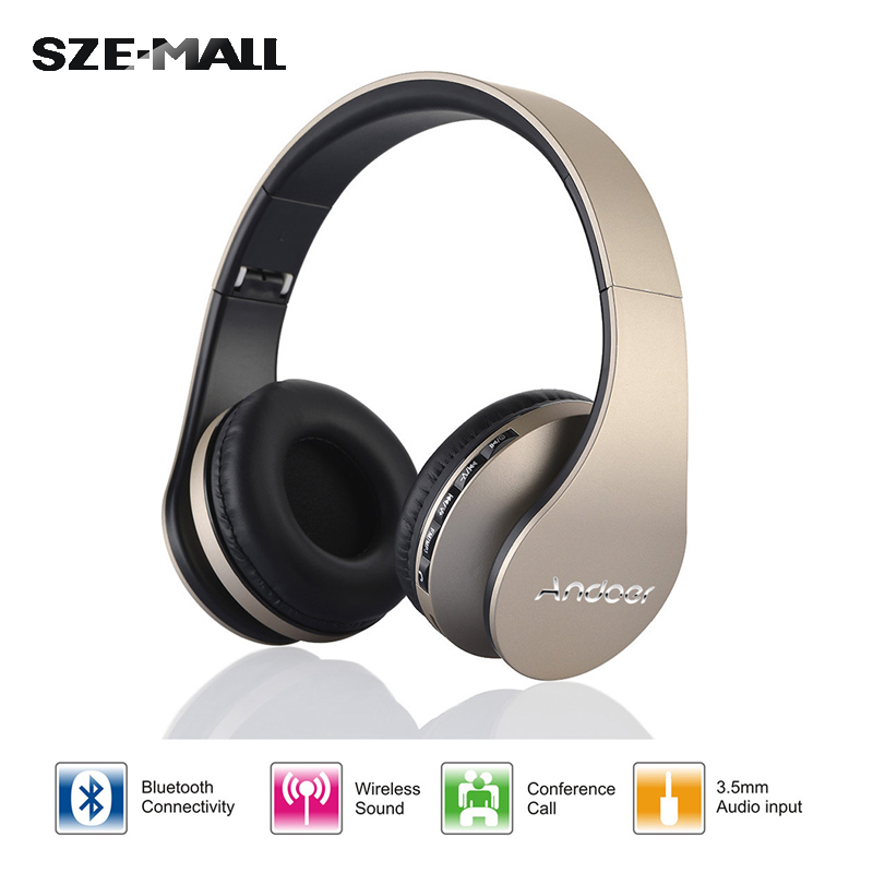 Digital 4 1 Stereo Andoer A2DP Wireless Bluetooth 3.0+EDR Headphones Headset Earphones Card MP3 player FM Radio Micphone - ShenZhen Electronics-Mall store