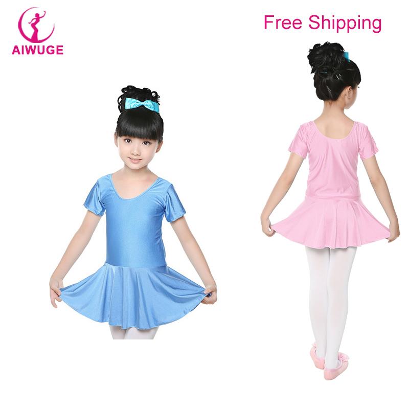 Girls Pink Shiny Spandex Short Sleeve Ballet Leotard Dress Kids Children Gymnastics/Dance Dress(China (Mainland))