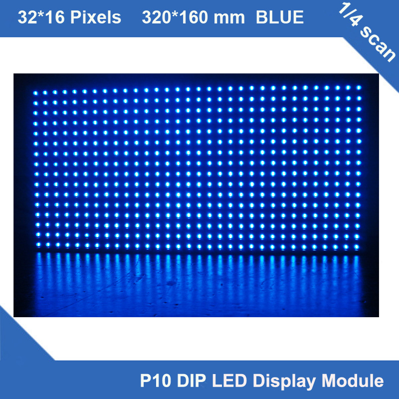 P10 blue led display panel advertise screen board sign 320*160mm scrolling waterproof outdoor led display module 32*16 pixel(China (Mainland))