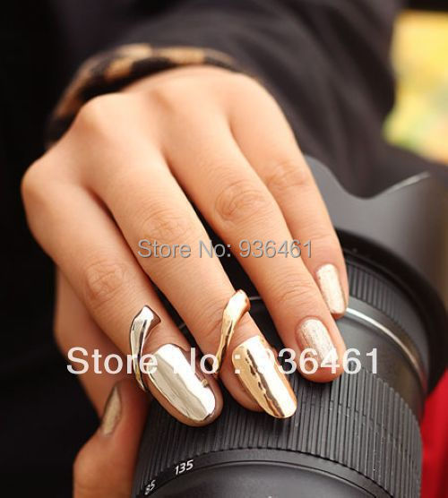 Drop Shipping Europe America Brand Jewelry Fashion Metallic Nail Rings Silver & Gold Two Colors Women Lot - Bling-Bling Store store