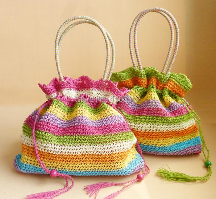 New arrivals tassel handbags Summer hollow out bag patchwork Women bag drawstring straw bag gradient ramp beach bags bolsas(China (Mainland))