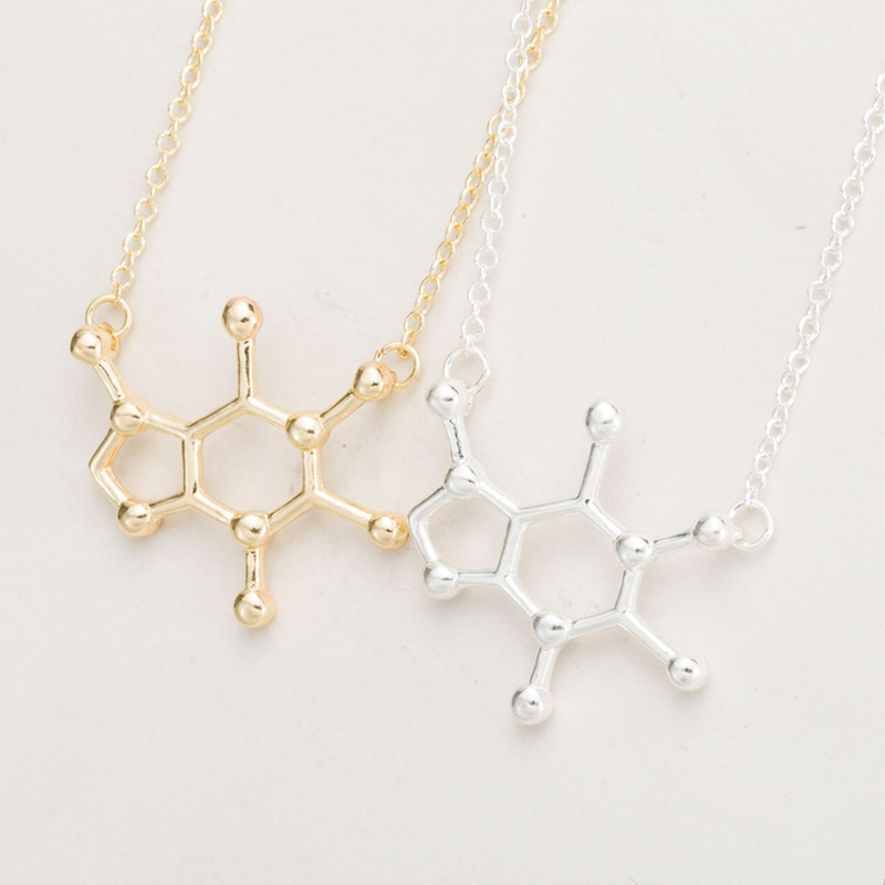 2016 New Design Fashion Women's Spring Style Caffeine Molecule Pendant Chemistry Structure Chain Choker Necklace XL137(China (Mainland))