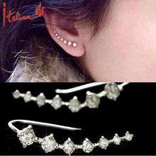 2016 Italina CZ Diamonds Jewelry Stud Earrings For women 925 sterling silver Jewelry Ear Hook Brincos Boucle d'oreille bijoux(China (Mainland))