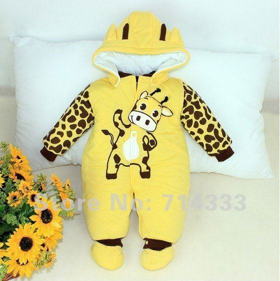 2012 New Arrvial! Cartoon Animal Baby's Romper Cows Warm Body Suit for Autumn and Winter Baby Clothing!