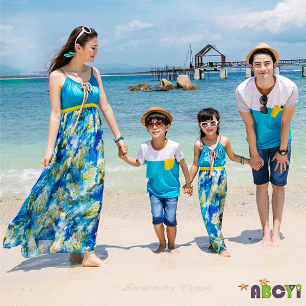 Matching Family Clothes Summer 2015 Korean Holiday Beach Maxi Dress Mother Daughter Outfits T ...