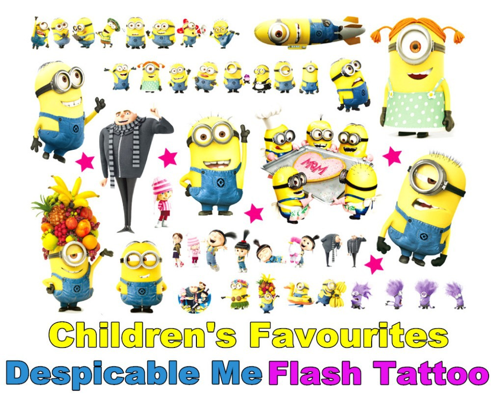 Despicable Me Minion Toy Flash Tattoo Sticker 17*10cm Waterproof Henna Tatto Summer Style Tatoo Temporary Body Art FREE SHIPPING(China (Mainland))