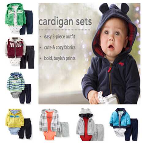 Carters Baby Boys 3 Pieces Long Sleeve Cardigan Bodysuit Set Spring Autumn Roupas Infantis Meninos Freeshipping