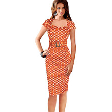 Womens Summer Autumn Elegant Tartan Belted Square Neck Tunic Wear To Work Business Casual Party Pencil Sheath Dress vestidos CG