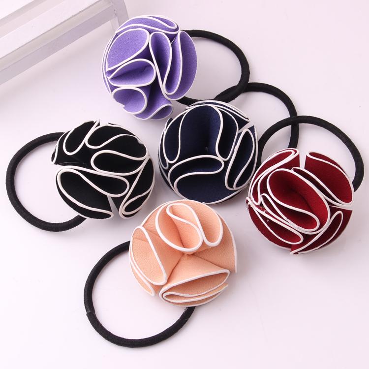 Free shipping Gilrs hair loops charming floral elastic hair bands hand making flower hair ropes 5colors 10pcs/lot(China (Mainland))