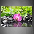 3 Piece Wall Art Painting Purple Orchid Fall Down On Black Pebbles Print On Canvas The