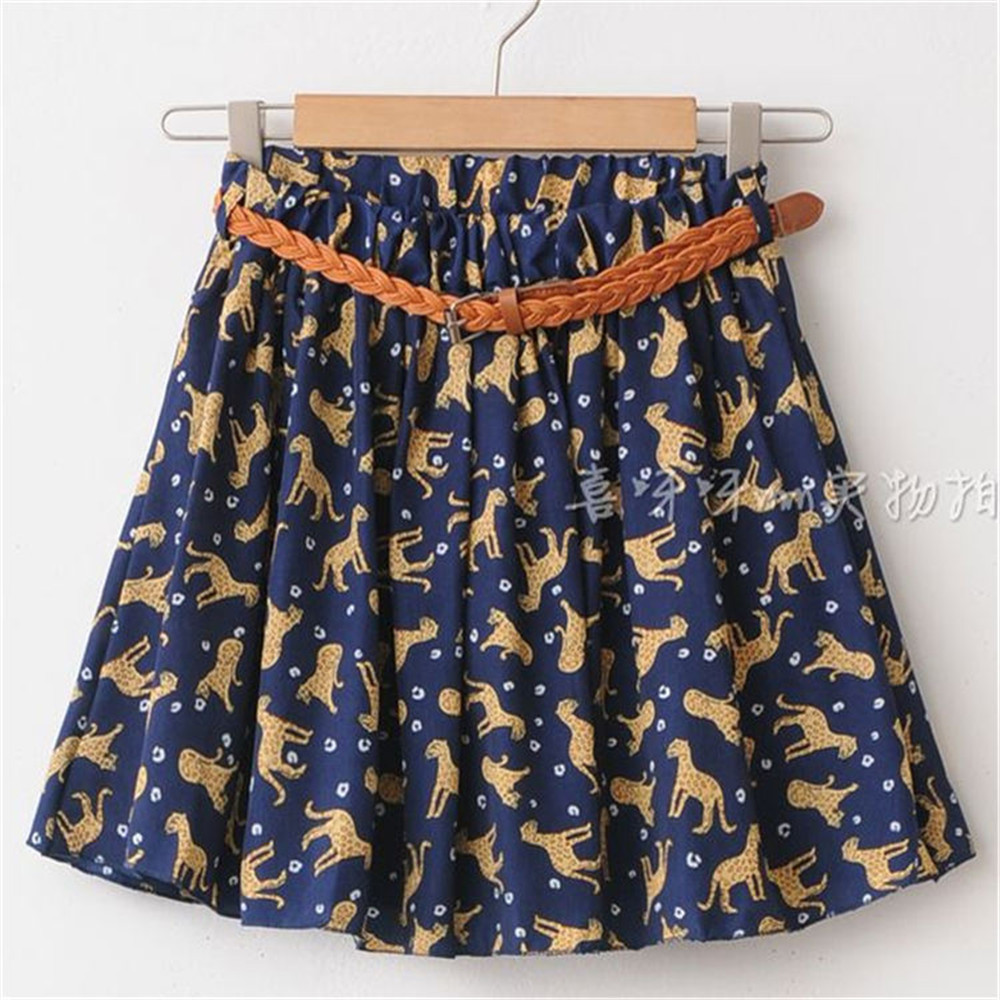 Summer Style Skirt Women Short Mini Skirts for Girl Casual Wear Chiffon Navy Color Yellow Leopard 629#1 [with no belt!!](China (Mainland))