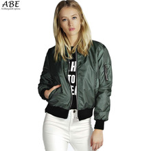 2016 Spring Autumn Women Thin Jacket Tops Celeb Bomber Long Sleeve Coat Casual Stand Collar Slim Fit Outerwear Plus Size