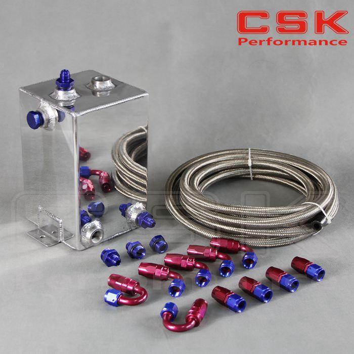 4L Aluminium Surge tank kit mirror polish Fuel cell 4L Universal Complete Fuel Surge Tank 4 Litre Swirl Pot System kit(China (Mainland))