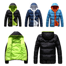 Brand Tops 2015 New Men's Cotton Blend Coat Hooded Padded Jacket Casual Thick Outwear For Men Winter Plus Size Clothing For Men(China (Mainland))
