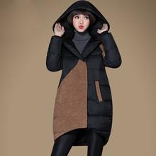 Winter jacket women 2015 new wool patchwork hooded duck down coat ladies front short back long warm parka plus size M-XXXL Y440