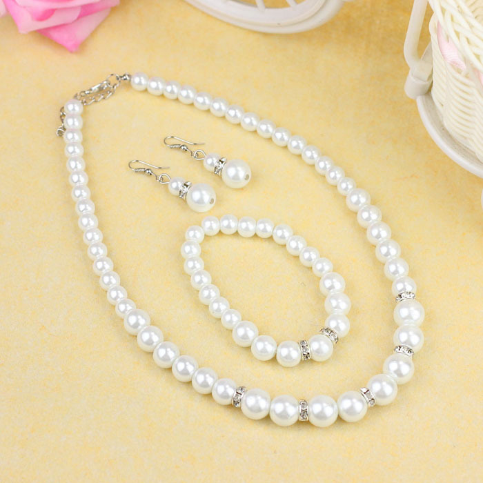 New Fashion Women Imitation Pearl Necklace de renda Bracelet Earrings Set Jewerly(China (Mainland))