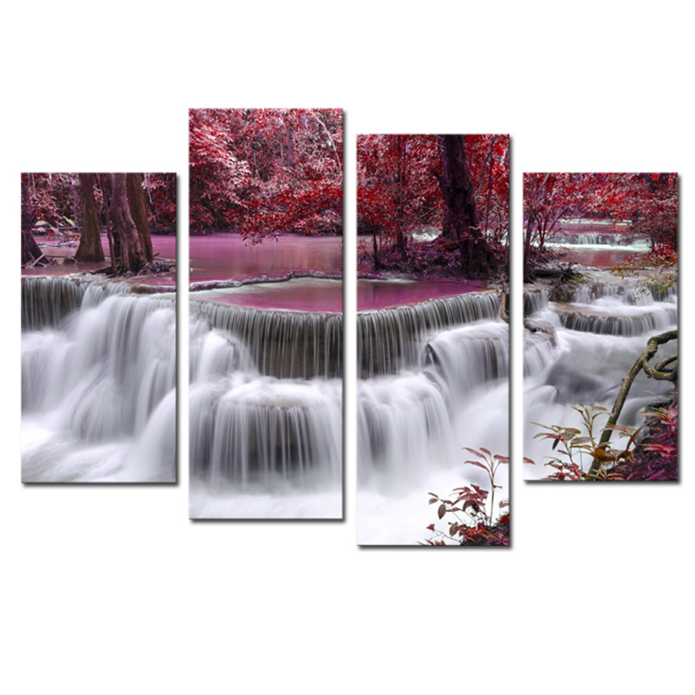 4 panels red spring large hd canvas print painting for for Room decor canvas