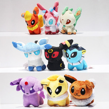 "5"" Pokemon Plush Toys 8 styles Umbreon Eevee Espeon Jolteon Vaporeon Flareon Glaceon Leafeon pikachu Soft Stuffed Plush Animals(China (Mainland))"