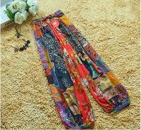 1 piece National Bohemian style totem printed baggy pants loose wide legs pants trouses Capris for women free shipping