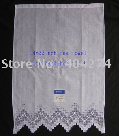 100% linen tea towel with ladder hemstitch