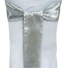 Free shipping by express 100pcs New  Silver  Satin Chair Sashes Bows 15cmX275cm Wedding(China (Mainland))