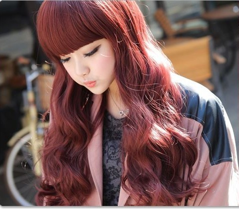 Fashion Loose curly wig bangs burgundy long red Cheap hair weave closure - H. P. Street store