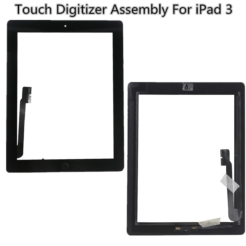 Brand New replacement Digitizer For iPad 3 Touch Glass Panel Screen With Home Button 1 Piece + Tools+Sticker(China (Mainland))