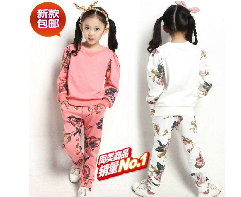 New 2014 Spring Casual Cotton 8-12 Years Print Children'S Sports Suit Girls Tracksuit Girls Clothing Sets Free Shipping B2048(China (Mainland))