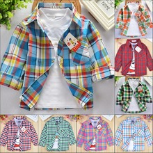 2016 new children's shirts for boys spring autumn -summer long sleeves girls blouses plaid cotton clothing kids shirts for girl(China (Mainland))