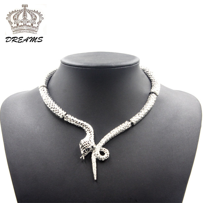 2016 ZA Colar luxury exaggerated silver chains snake necklace long necklaces pendants fashion jewelry Animal snake Accessories(China (Mainland))