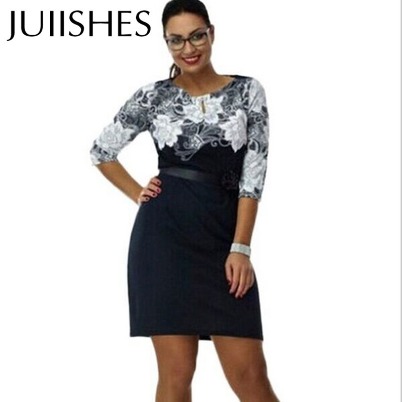 Plus Size Formal Office Women Dress 1pc/lot Three Quarter Sleeve Floral Ladies Pencil Dresses ...