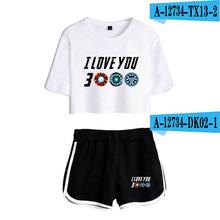 2019 I Love You 3000 2 ชิ้นชุดหญิงฤดูร้อน Harajuku T (China)