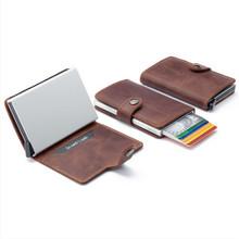 Men leather wallets No breaking No bending slim wallet pop up click slide aluminum case credit card protector(China (Mainland))