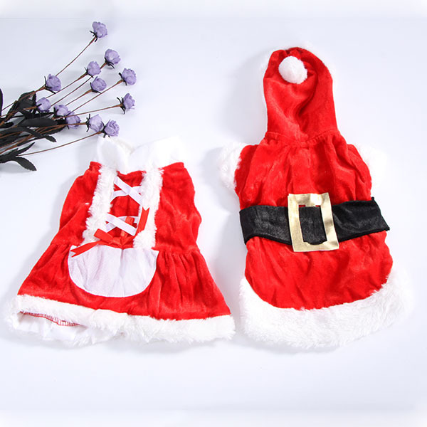 Puppy Dog Santa Cloths Hoodie Costume Apparel Outwear Pet Christmas Coat Red FIg TOP(China (Mainland))